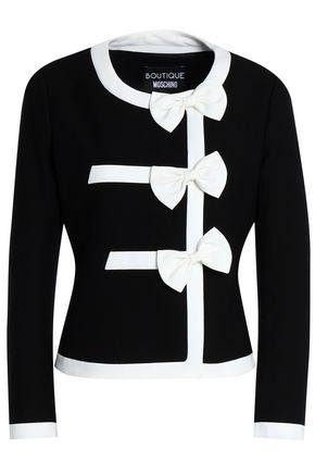 BOUTIQUE MOSCHINO Bow-embellished two-tone cotton-blend jacquard jacket