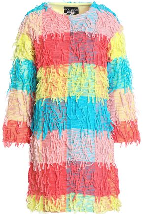 BOUTIQUE MOSCHINO Fringed color-block woven jacket