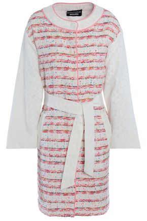 BOUTIQUE MOSCHINO Lace-paneled tweet jacket
