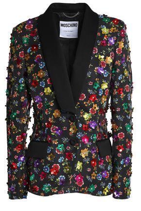 MOSCHINO Floral-appliquéd printed cotton-blend blazer