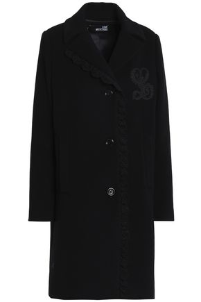 LOVE MOSCHINO Crochet-trimmed wool-blend coat