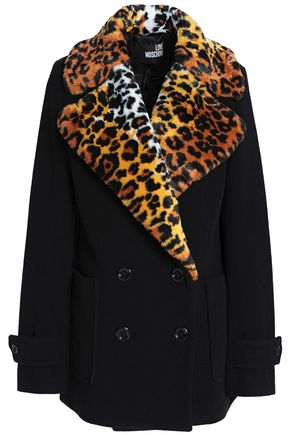 LOVE MOSCHINO Faux fur-trimmed double-breasted wool-blend coat