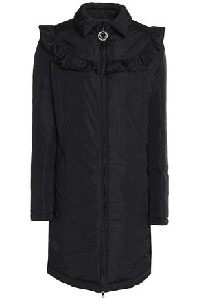LOVE MOSCHINO Ruffle-trimmed shell coat