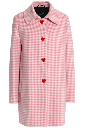 LOVE MOSCHINO Gingham wool-blend coat
