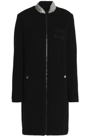 LOVE MOSCHINO Embellished wool-blend coat