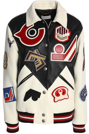 COACH Embellished appliquéd leather and wool-blend felt jacket
