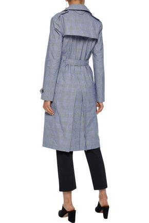 IRIS & INK Meredith belted Prince of Wales cotton trench coat