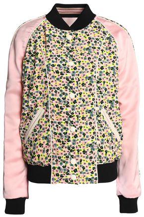COACH Satin-paneled printed crepe bomber jacket