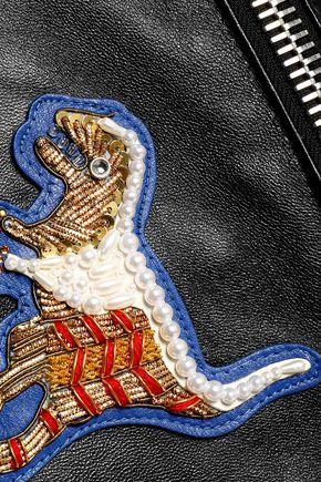 COACH Embellished appliquéd leather biker jacket