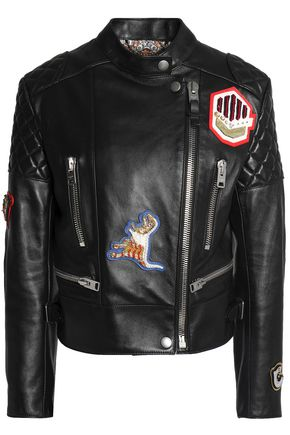 COACH Embellished appliquéd leather biker jacket