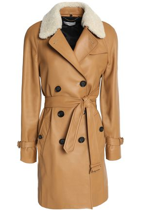 COACH Double-breasted shearling-trimmed leather coat