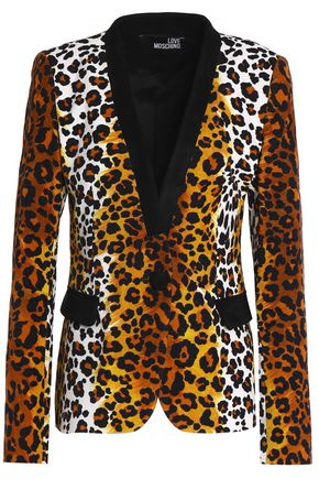 LOVE MOSCHINO Leopard-print stretch-cotton blazer
