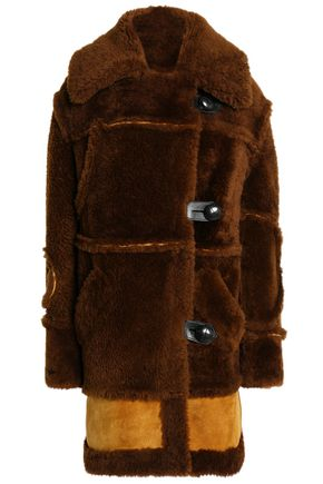COACH Leather-trimmed two-tone shearling coat