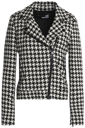 LOVE MOSCHINO Houndstooth cotton and wool-blend jacket