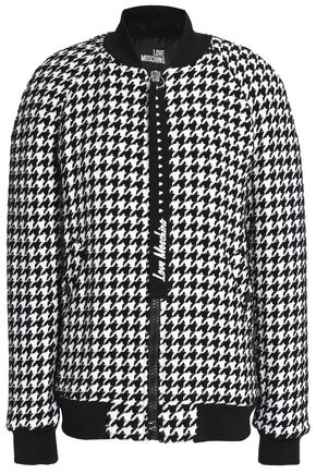 LOVE MOSCHINO Houndstooth tweed bomber jacket