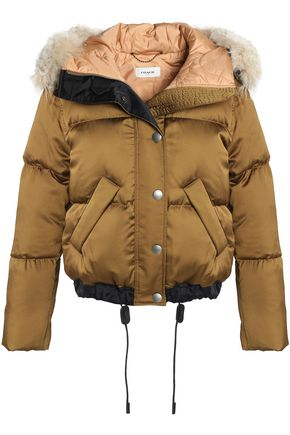COACH Shearling-trimmed quilted shell down hooded coat