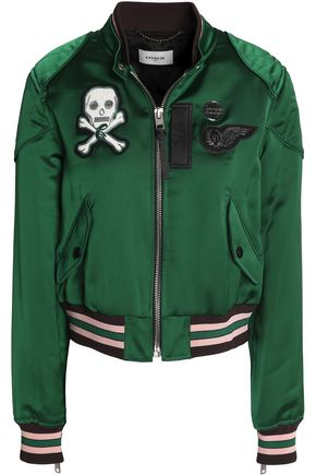 COACH Leather-trimmed appliquéd satin bomber jacket