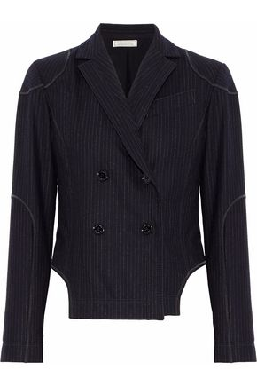 NINA RICCI Double-breasted pinstriped wool-blend blazer