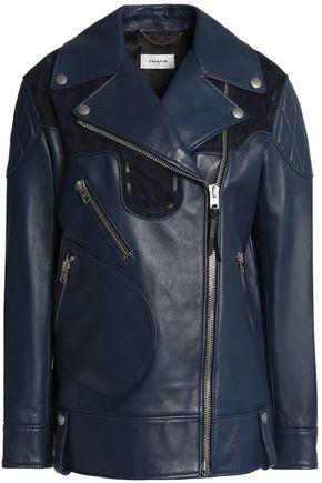 COACH Suede-trimmed leather biker jacket