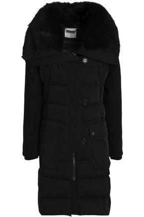 ASHLEY B Shearling-Trimmed Twill Down Jacket in Black