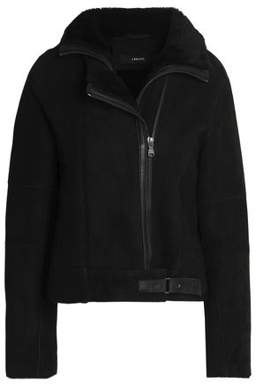 J BRAND Shearling and leather-trimmed suede jacket