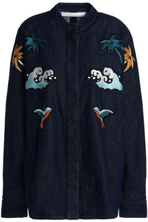 VICTORIA, VICTORIA BECKHAM Embroidered denim jacket
