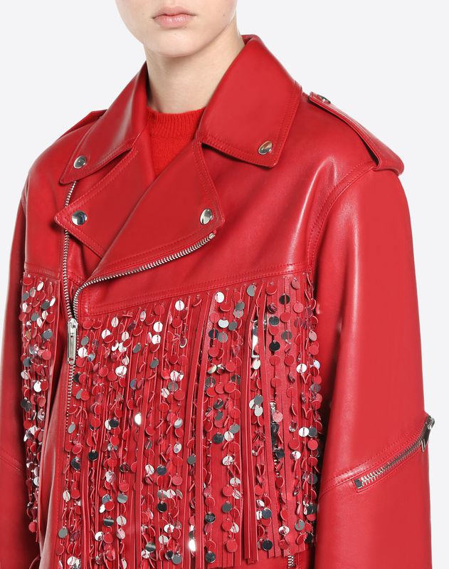 Biker Jacket in embroidered leather