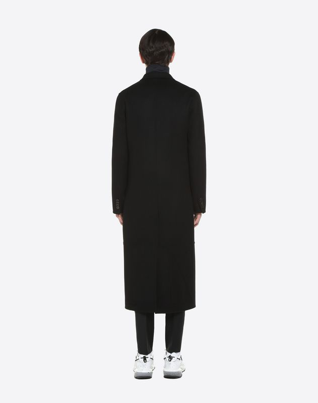 WOOL AND CASHMERE VLTN INTARSIA COAT