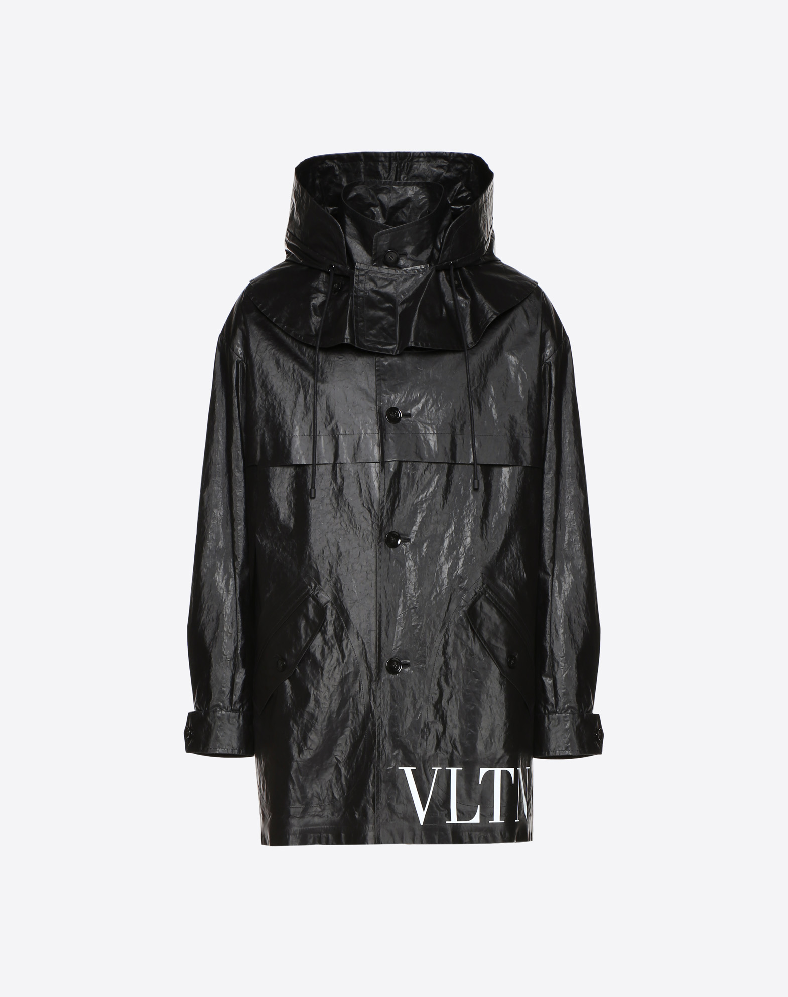 WAXED PEACOAT WITH HOOD AND VLTN LOGO