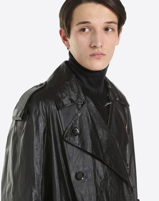 DOUBLE-BREASTED WAXED COAT WITH VLTN DETAIL