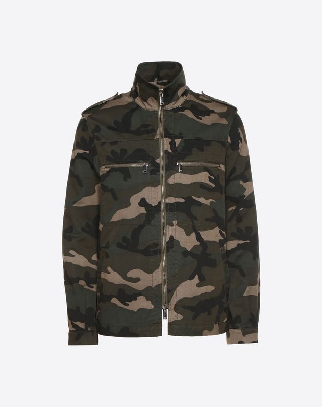 Camouflage shirt jacket with multicoloured heart detail