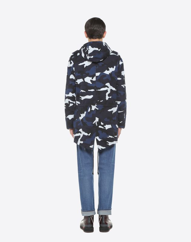 Camouflage parka with merino wool gilet
