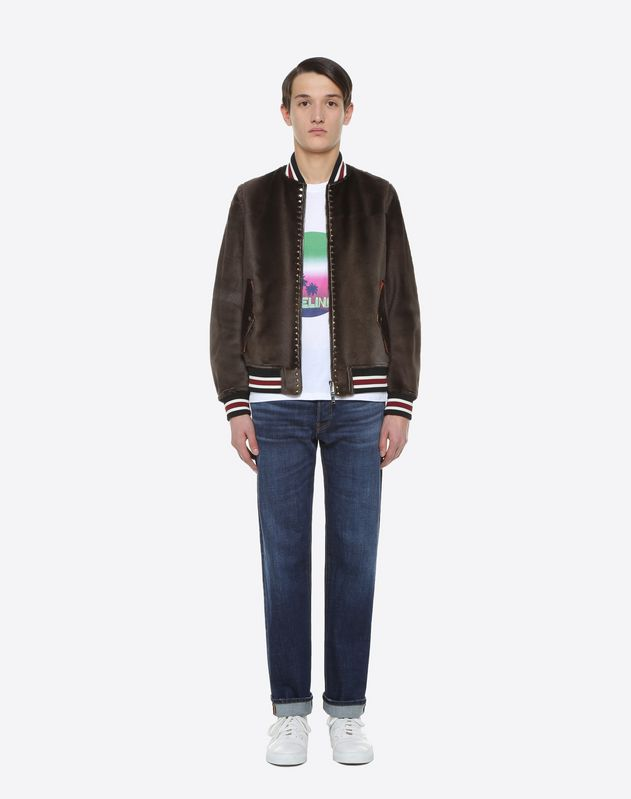 Rockstud Untitled calf hair bomber