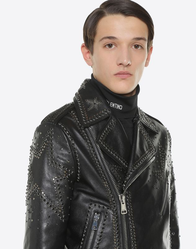 Biker jacket with metal and stud details