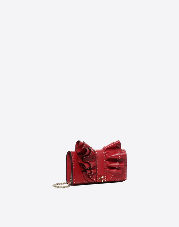 ruffled Bow Microstud Shoulder Bag