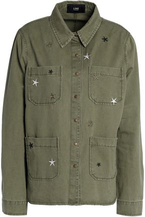LINE Embroidered cotton-gabardine jacket