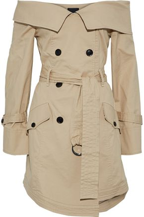 MARISSA WEBB Ellen off-the-shoulder woven cotton-blend trench coat