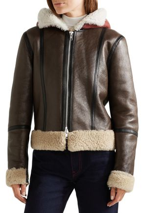 CALVIN KLEIN 205W39NYC Shearling-lined brushed-leather hooded jacket
