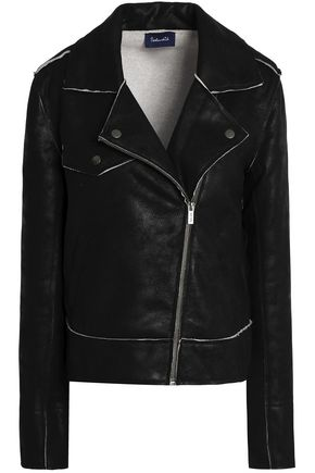 SPLENDID Coated French cotton-terry biker jacket