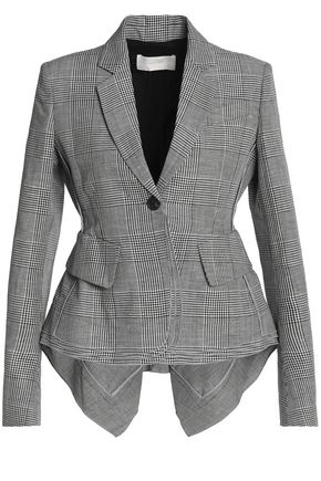 ANTONIO BERARDI Checked wool, linen and silk-blend blazer
