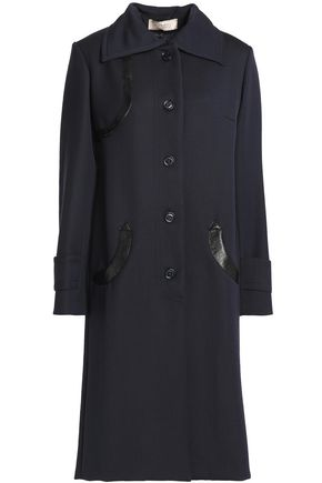 NINA RICCI Snake-effect leather-trimmed wool coat
