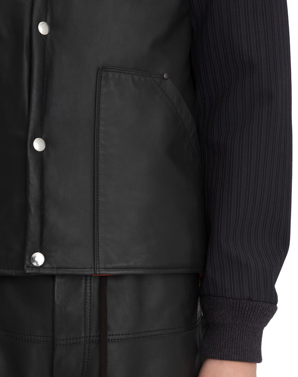 MATTE BLACK LAMBSKIN LEATHER JACKET - Lanvin