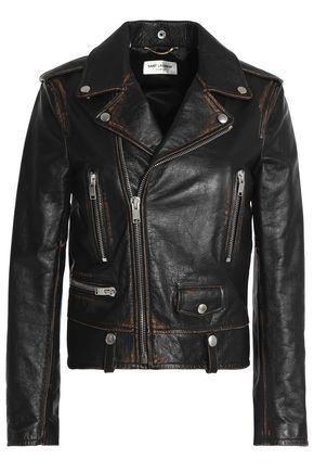 SAINT LAURENT Printed leather biker jacket