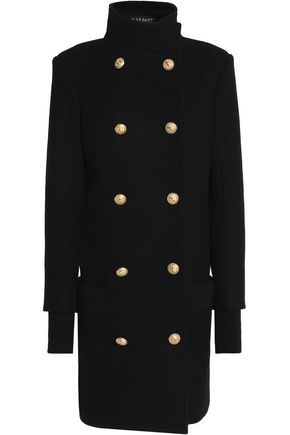 BALMAIN Double-breasted wool and cashmere-blend coat