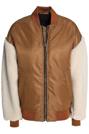 MAJE + Schott NYC Boston shearling-paneled shell bomber jacket