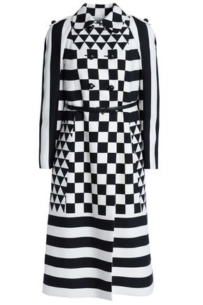 VALENTINO Belted printed wool and silk-blend coat