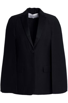 VALENTINO Satin-trimmed wool and silk-blend crepe blazer