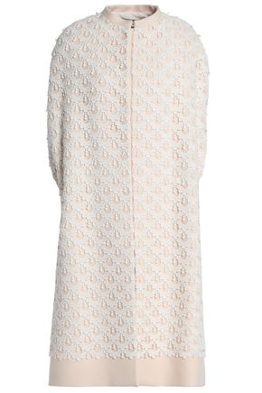 VALENTINO Cotton-blend lace and crepe coat
