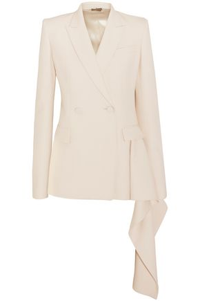 ALEXANDER MCQUEEN Double-breasted draped wool-blend blazer