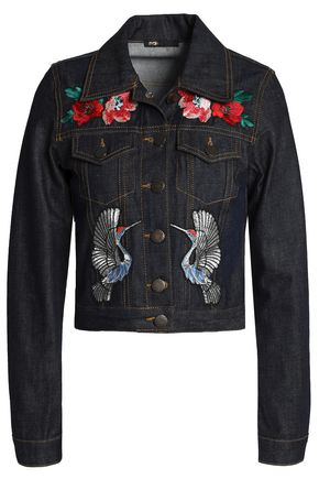 WOMAN APPLIQUÉD DENIM JACKET DARK DENIM